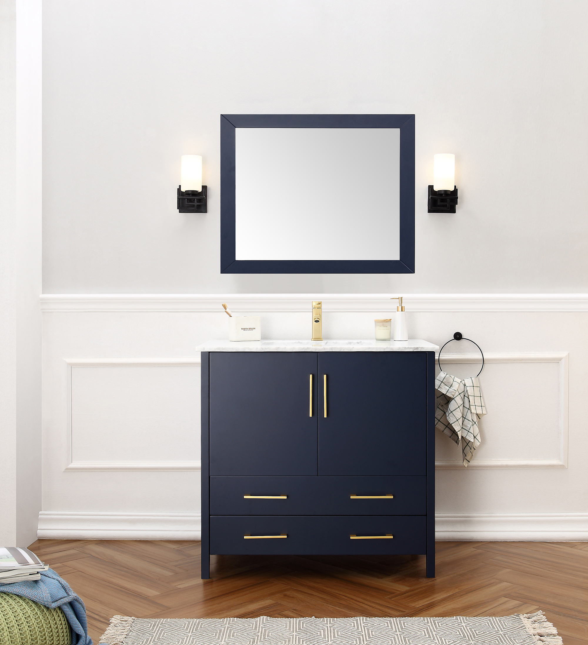 "Dora Soo Collection 36"" Solid Wood Sink Vanity with Mirror-No Faucet Blue Finish"