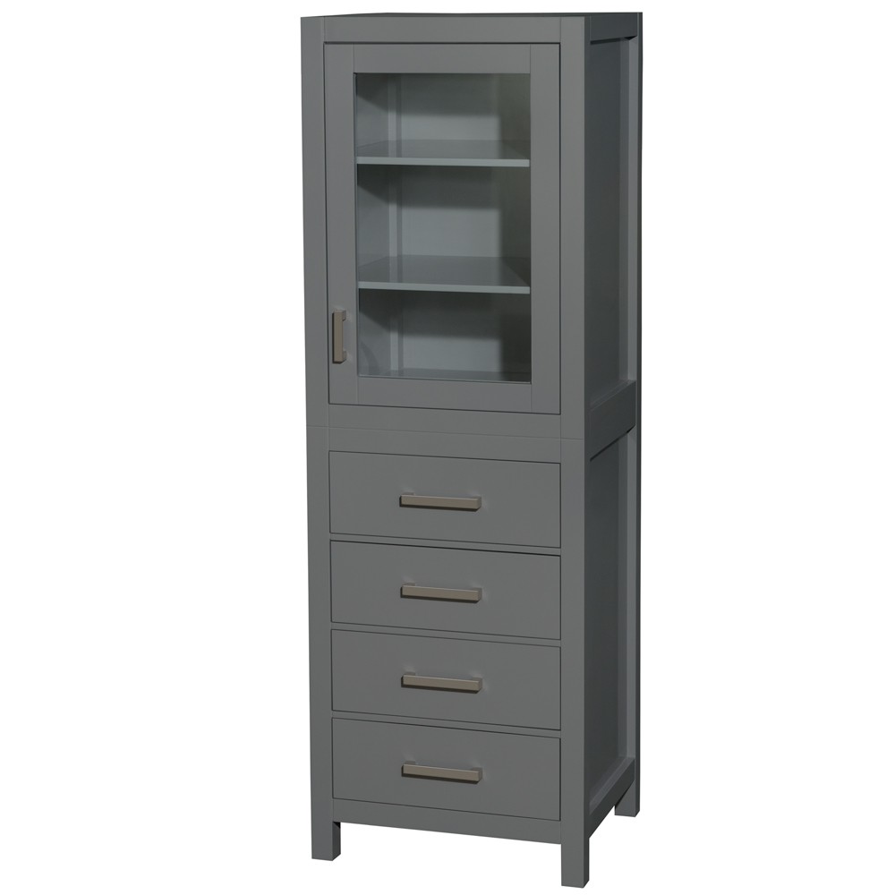 24 inch Linen Tower in Dark Gray with Shelved Cabinet Storage and 4 Drawers