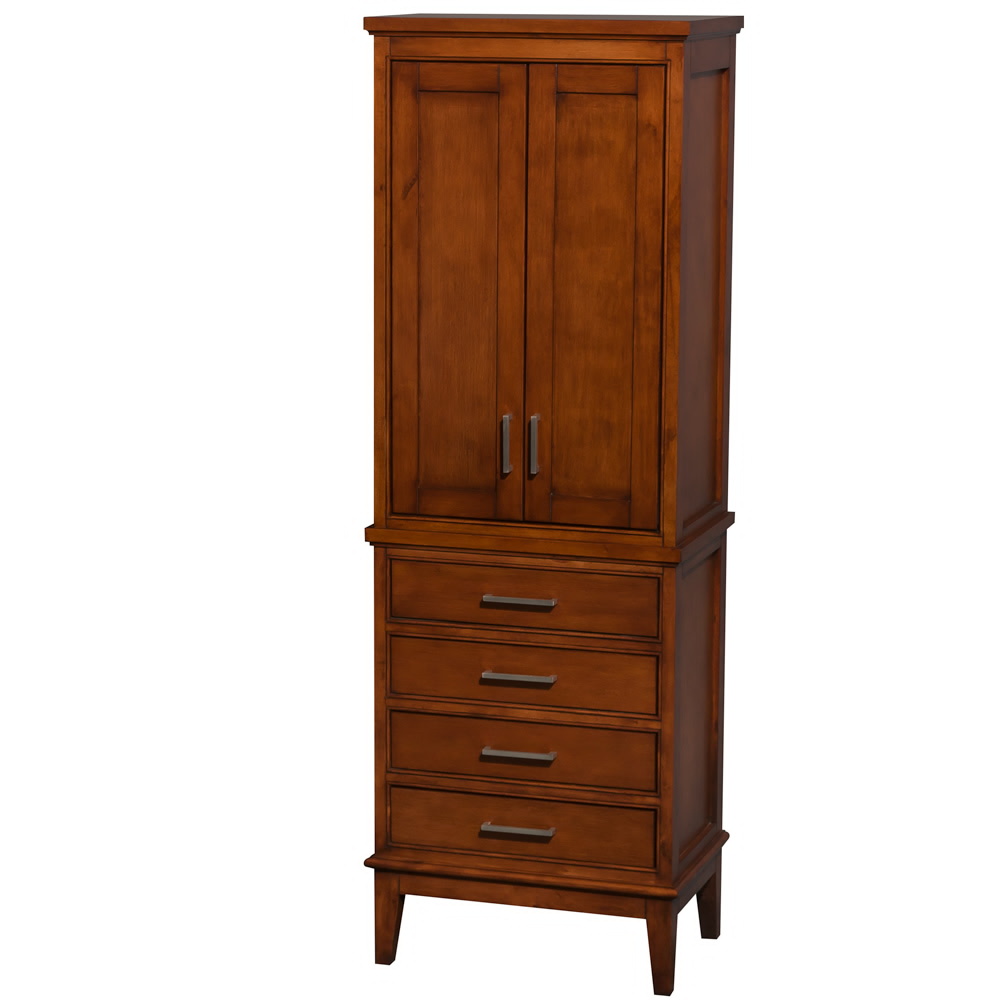 Bathroom Linen Tower in Light Chestnut with Shelved Cabinet Storage and 4 Drawers