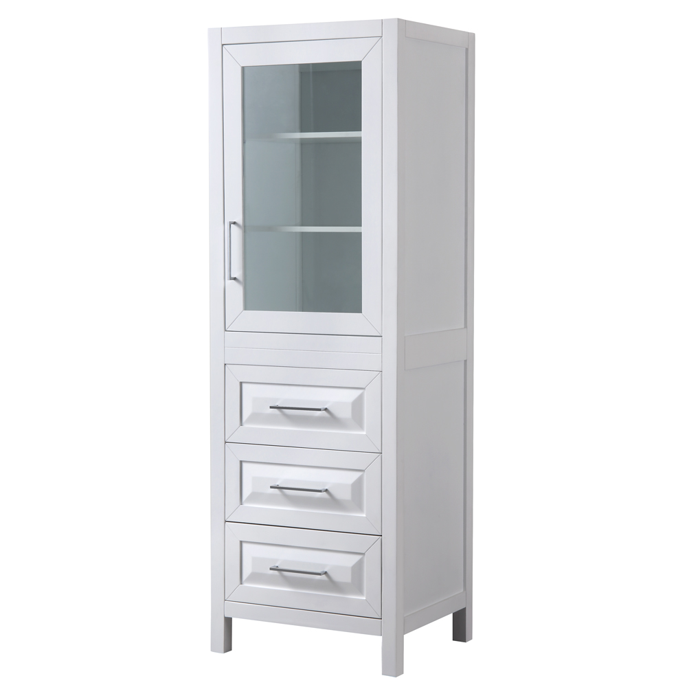 Linen Tower in White with Shelved Cabinet Storage and 3 Drawers