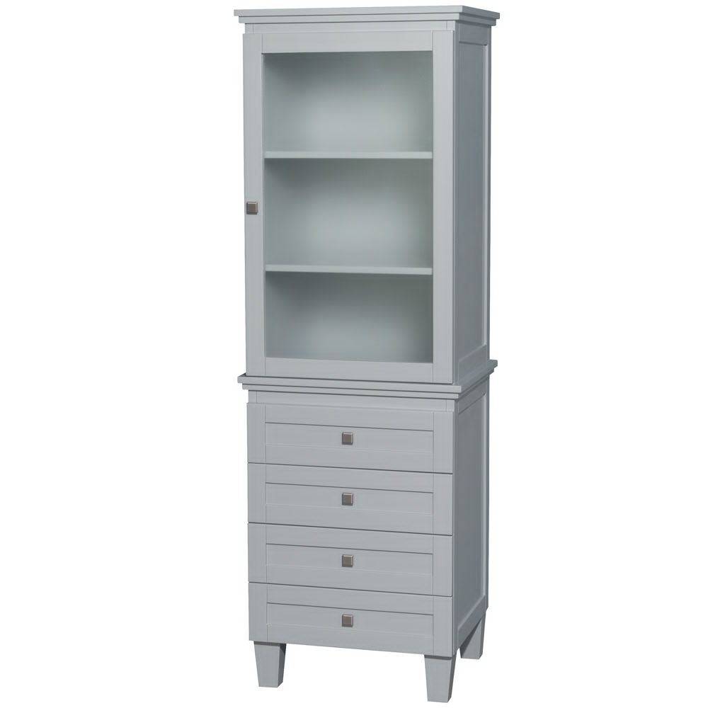 Bathroom Linen Tower in Oyster Gray with Shelved Cabinet Storage and 4 Drawers