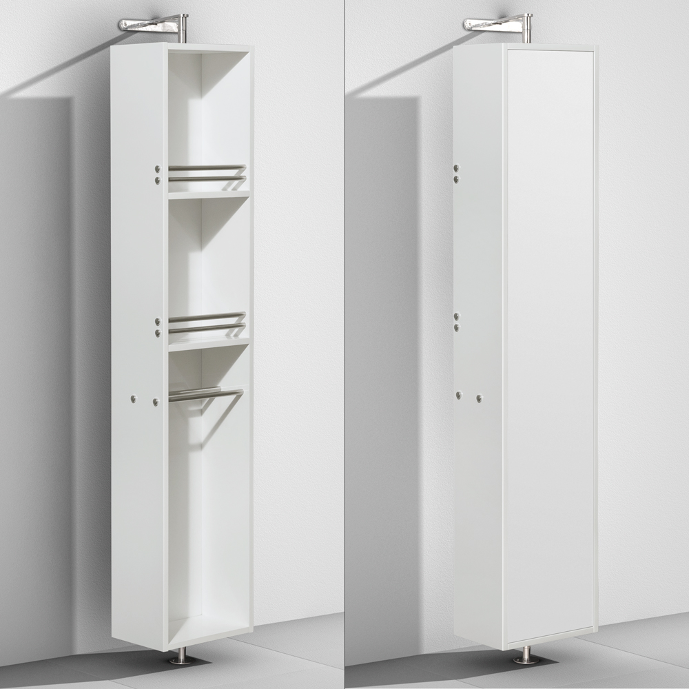 Linen Tower & 360 Degree Rotating Floor Cabinet with Full-Length Mirror in Glossy White