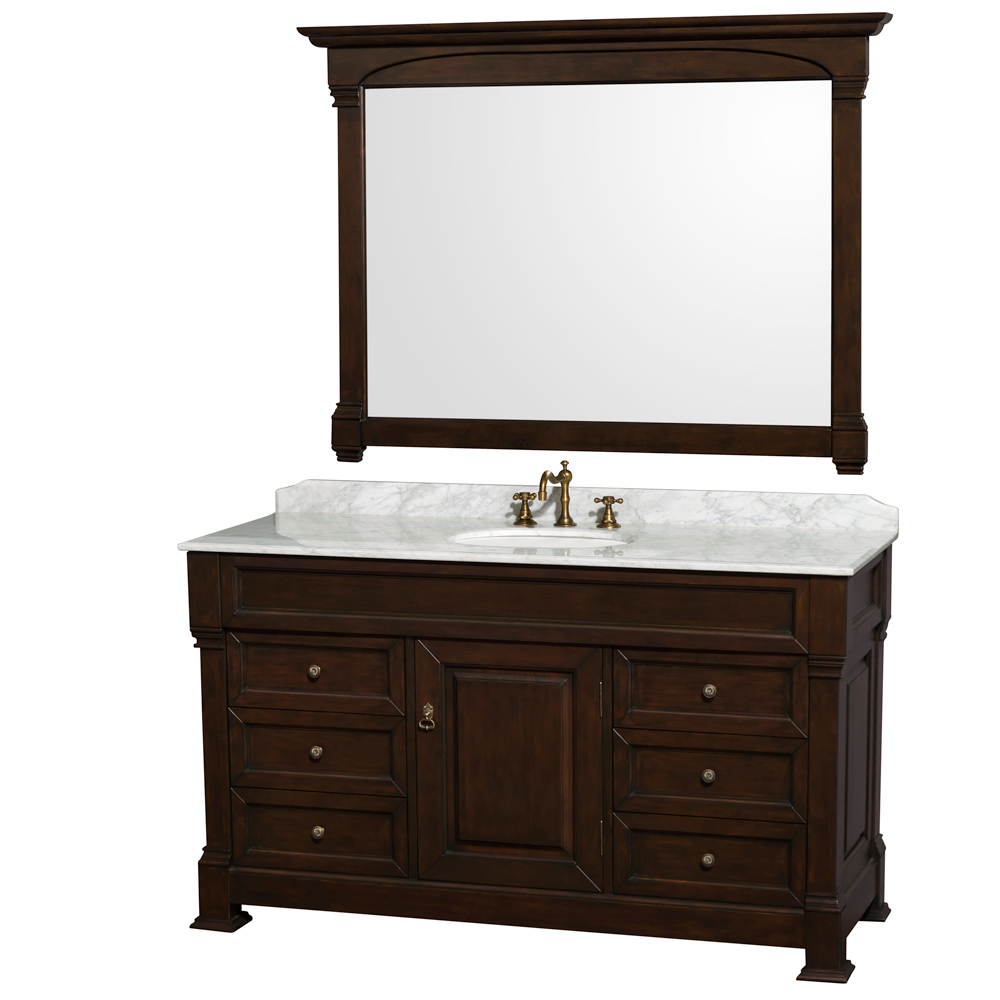 "Andover 60"" Single Bathroom Vanity in Dark Cherry, Undermount Oval Sinks, and 56"" Mirror with Countertop Options"