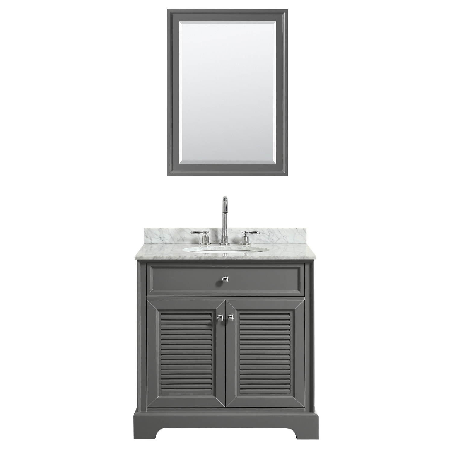 "30"" Single Bathroom Vanity in Dark Gray, White Carrara Marble Countertop, Undermount Oval Sink, and Mirror Options"