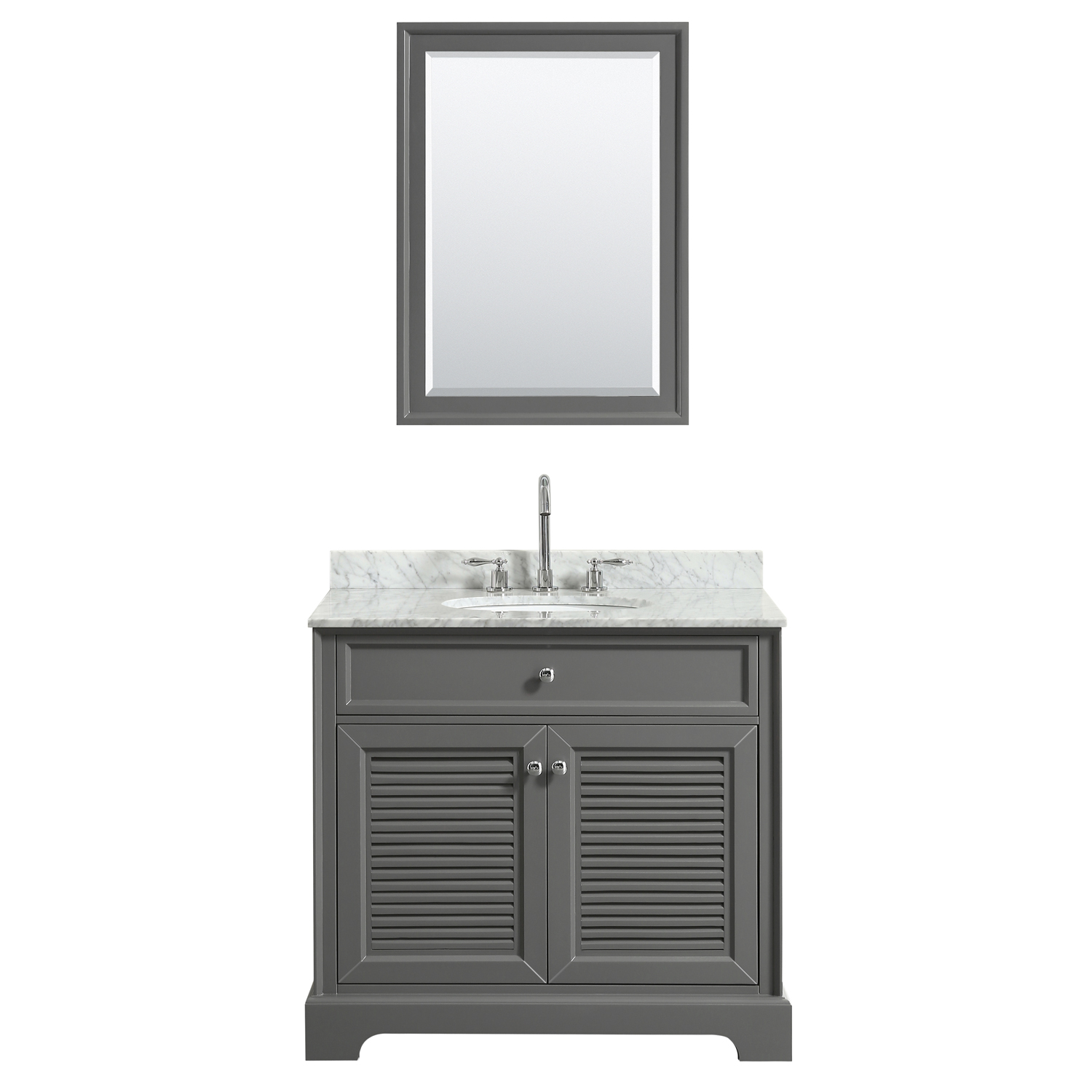 "36"" Single Bathroom Vanity in Dark Gray, White Carrara Marble Countertop, Undermount Oval Sink, and Mirror Options"