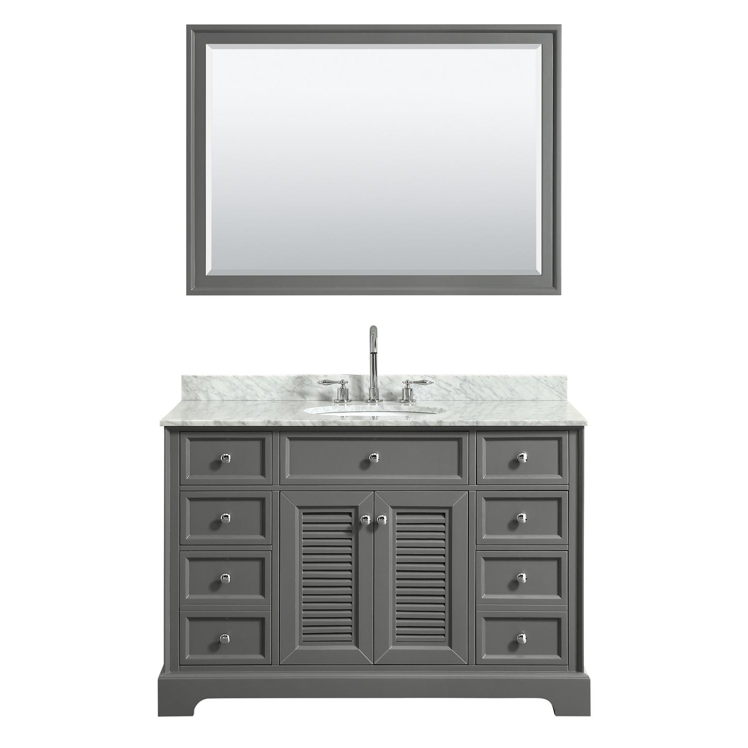 "48"" Single Bathroom Vanity in Dark Gray, White Carrara Marble Countertop, Undermount Oval Sink, and Mirror Options"