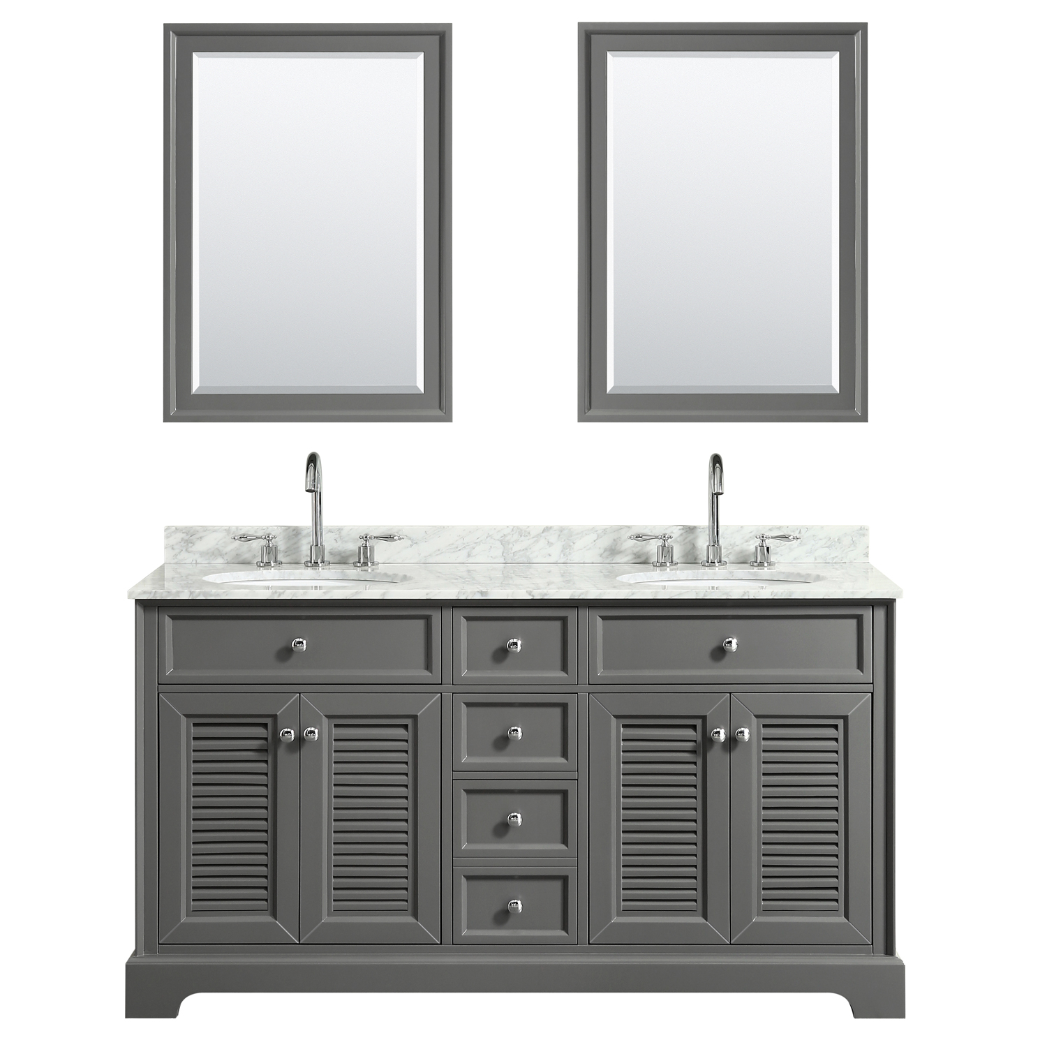 "60"" Double Bathroom Vanity in Dark Gray, White Carrara Marble Countertop, Undermount Oval Sinks, and Mirror Options"
