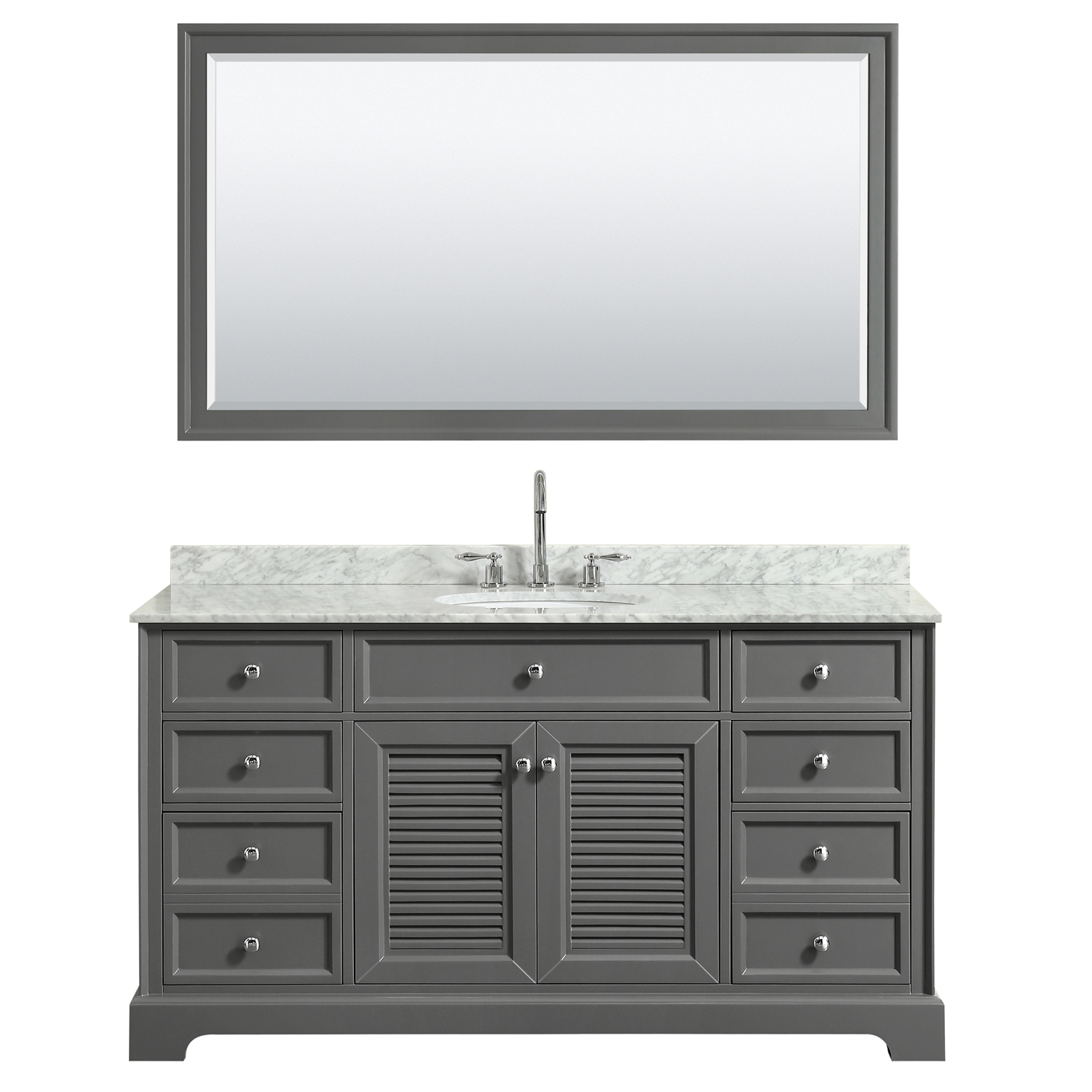 "60"" Single Bathroom Vanity in Dark Gray, White Carrara Marble Countertop, Undermount Oval Sink, No Mirror and 58 inch Mirror"
