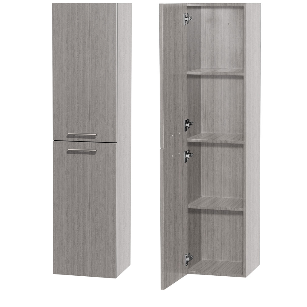 Bathroom Wall-Mounted Storage Cabinet in Gray Oak (Two-Door)