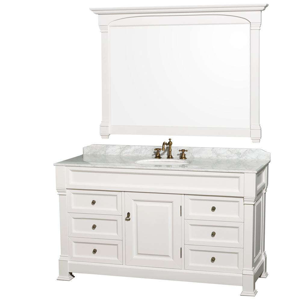 "Andover 60"" Single Bathroom Vanity in White, Undermount Oval Sinks, and 56"" Mirror with Countertop Options"