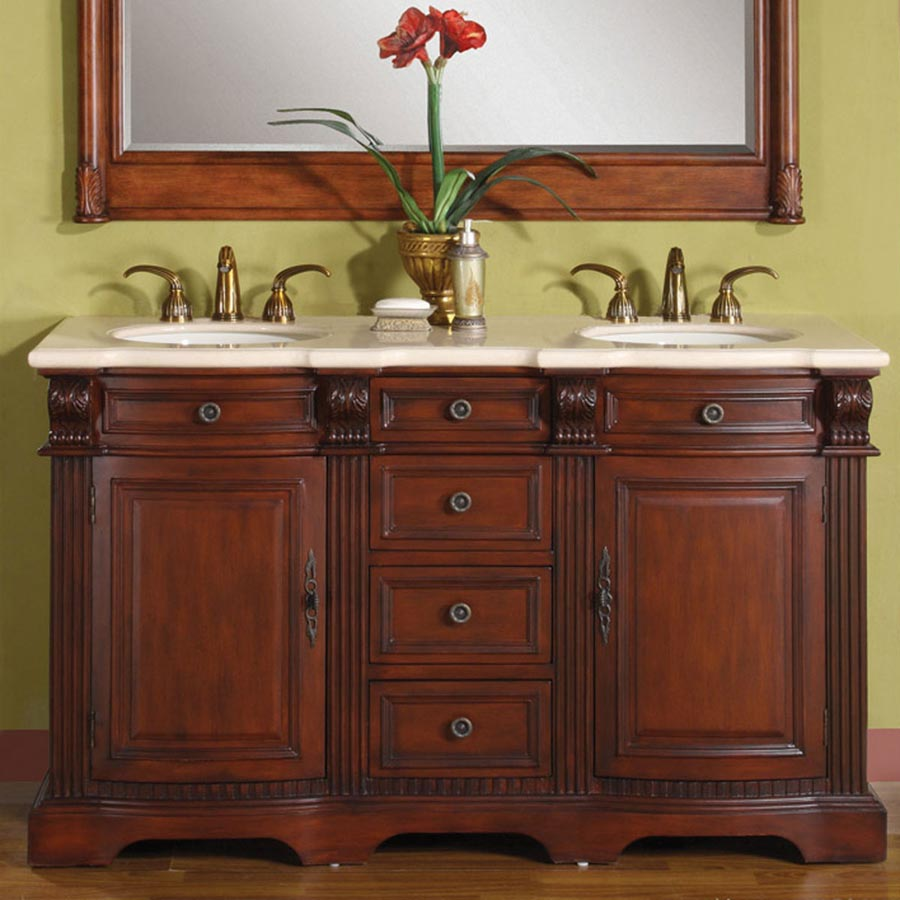 "58"" Double Sink Cabinet - Cream Marfil Marble Top, Under Mount, White Ceramic Sinks (3 holes)"
