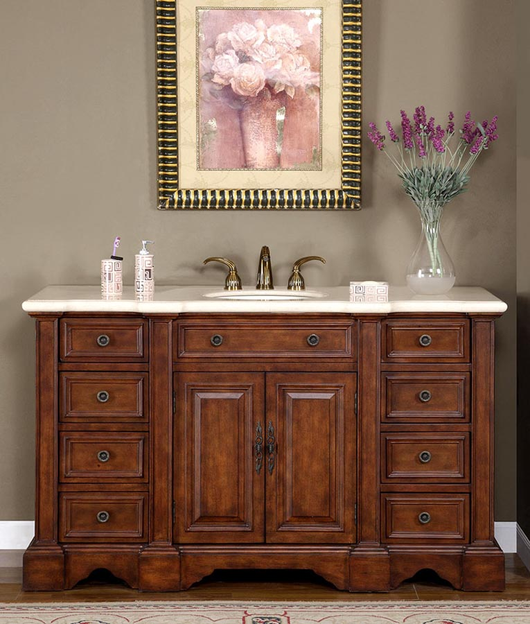 "58"" Single Sink Cabinet - Cream Marfil Marble Top, Under Mount, White Ceramic Sinks (3 holes)"
