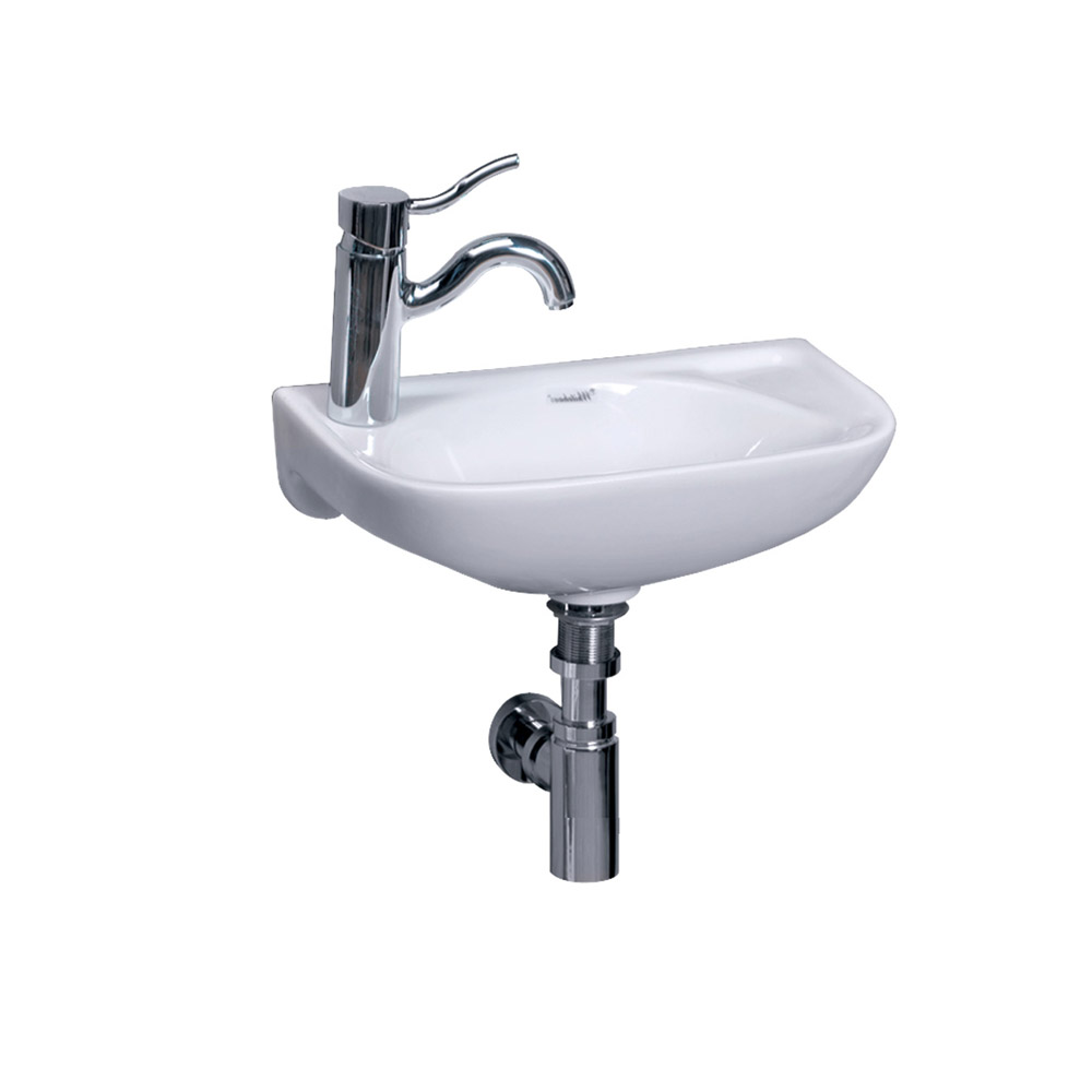 Isabella Collection Small Wall Mount Basin with Center Drain - Left or Right Hole Drilling Option