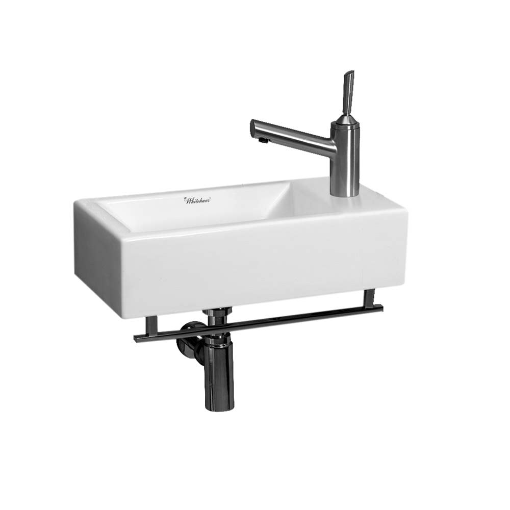 Isabella Collection Small Wall Mount Basin with Chrome Towel Bar and Center Drain