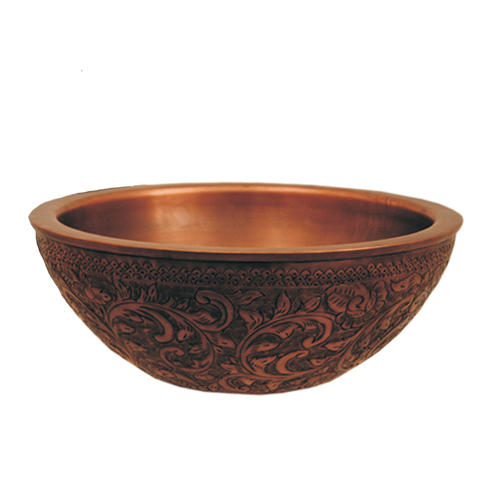 "Copperhaus Round Above Mount Copper Bathroom Basin with a Floral Design & 1 1/2"" Center Drain"