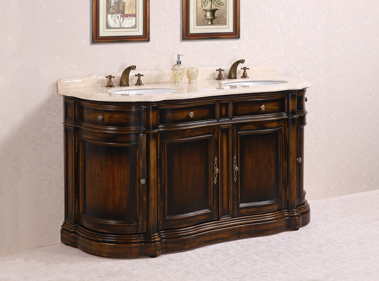 "66"" Antique Brown Double Sink with Cream Marble top"