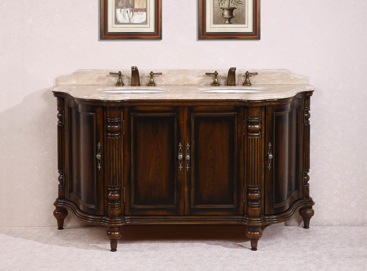 "67"" Double Sink Vanity with Travertine top"