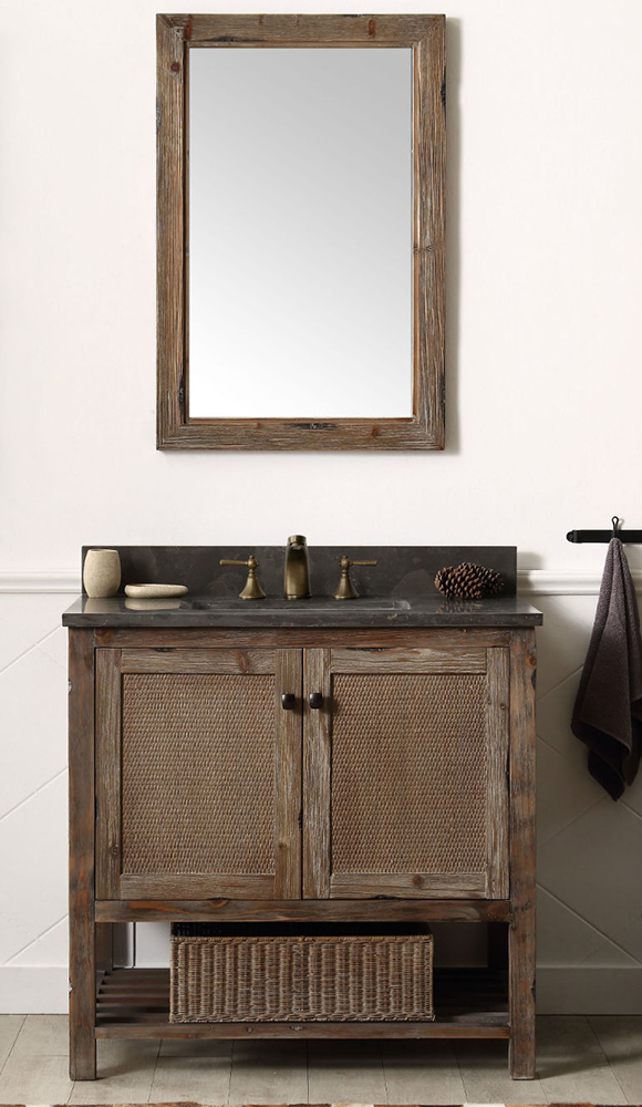 "Dora Soo Collection 36"" Solid Wood Sink Vanity With Moon Stone Top - No Faucet, Brown Rustic Finish"