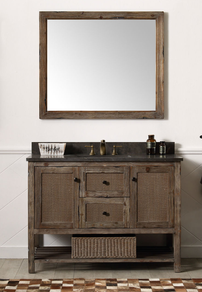 "Dora Soo Collection 48"" Solid Wood Sink Vanity With Moon Stone Top - No Faucet, Brown Rustic Finish"