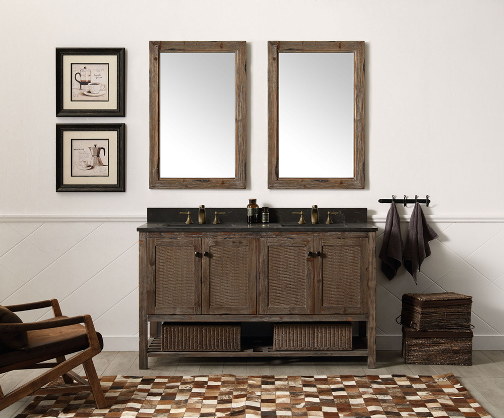 "Dora Soo Collection 60"" Solid Wood Sink Vanity With Moon Stone Top - No Faucet, Brown Rustic Finish"