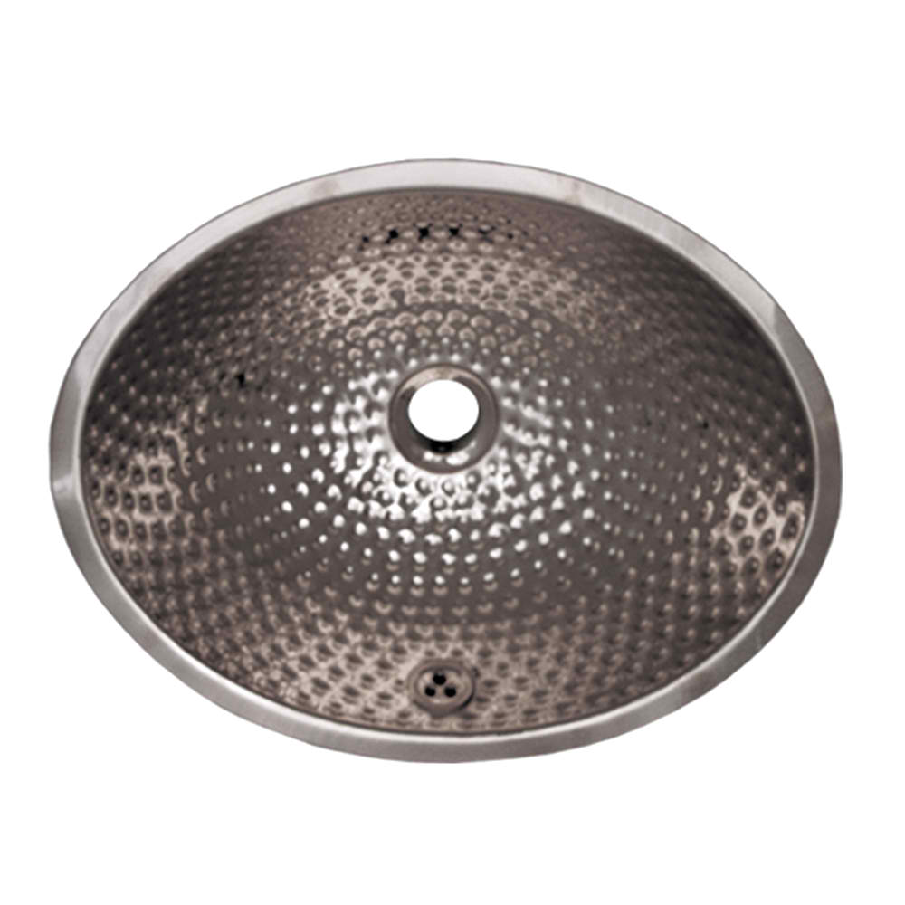 "Decorative Oval Ball Pein Hammered Textured Undermount Basin with Overflow and a 1 1/4"" Center Drain"