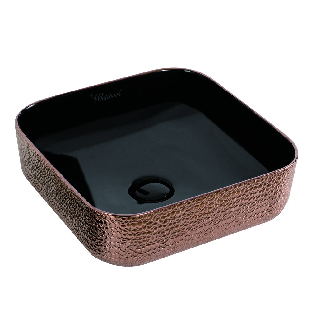 Isabella Plus Collection Square Above Mount Basin with an Embossed Exterior, Smooth Interior, and Center Drain Rose Gold