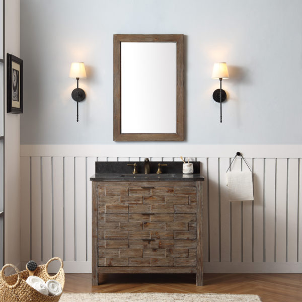 "Dora Soo Collection 36"" Rustic Wood Sink Vanity Match with Marble Moon Stoner Top - No Faucet"