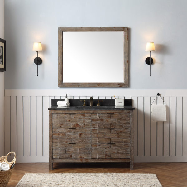 "Dora Soo Collection 48"" Rustic Wood Sink Vanity Match with Marble Moon Stoner Top - No Faucet"
