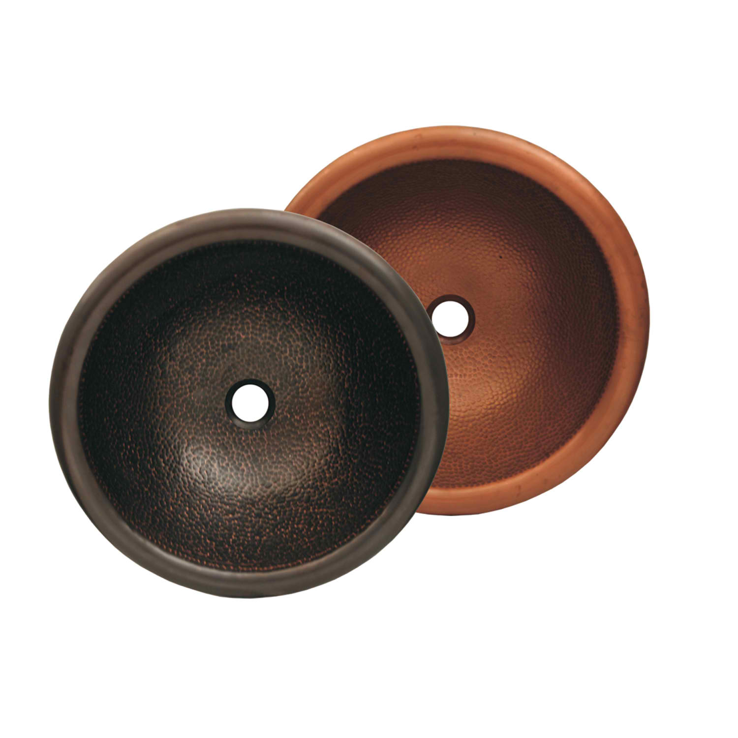 "Copperhaus Round Drop-in/Undermount Copper basin with a Hammered Texture  & 1 1/2"" Center Drain, Hammered Bronze"