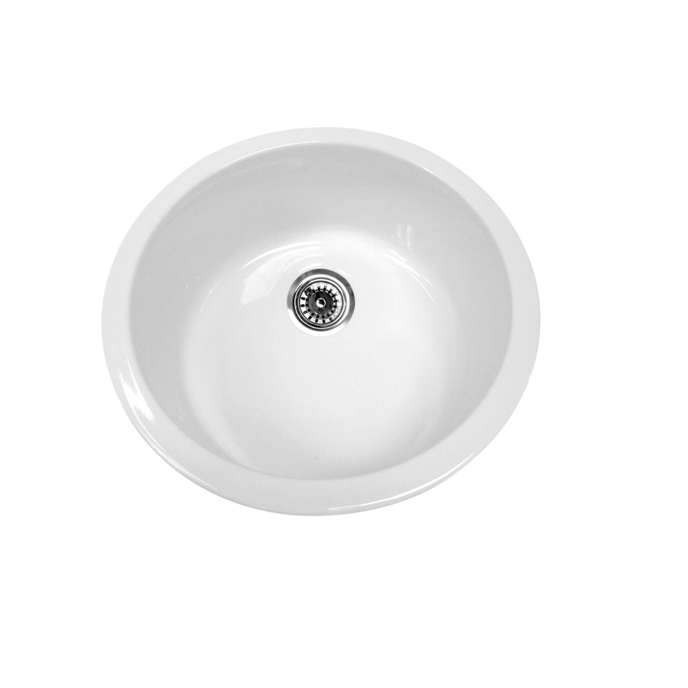 "Elementhaus Fireclay Circular Drop In/Undermount Sink with 3 1/2""  Rear Center Drain"