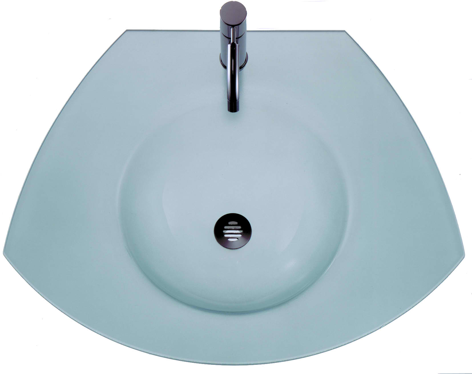 New Generation Ecoloom Trapezoidal Glass Counter Top with Integrated Round Basin