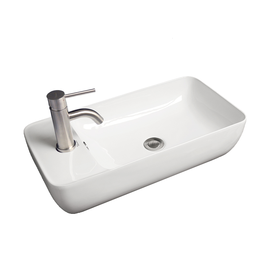 Isabella Collection Rectangular Above Mount Basin with Integrated Rectangular Bowl and a Center Drain