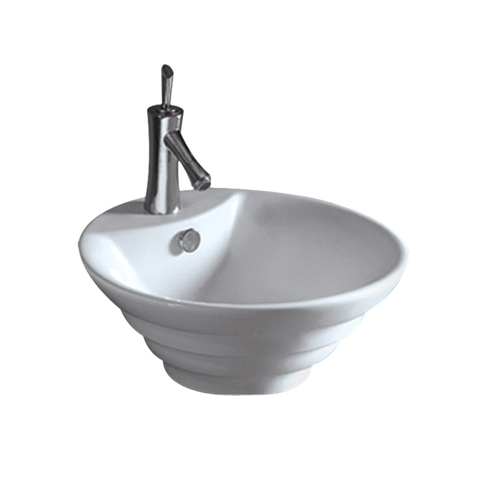 Isabella Collection Round Stepped Above Mount Basin with Overflow, Single Faucet Hole and Center Drain