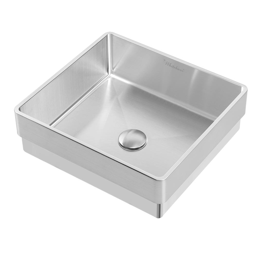Noah Plus 10 Gauge Frame, Squared Semi-recessed Basin Set with Center Drain with Color Options