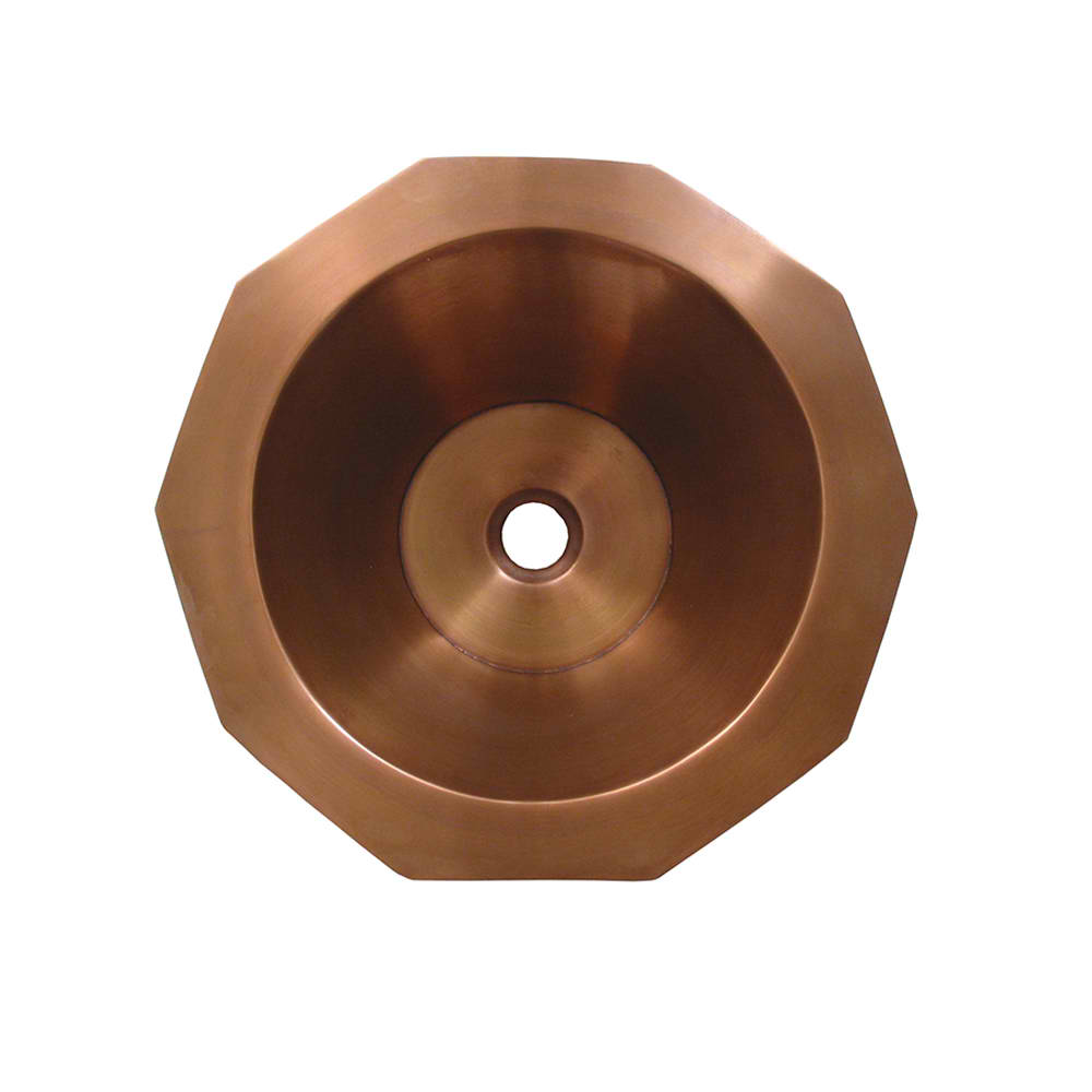 "Copperhaus Decagon Shaped Above Mount Copper Bathroom Basin with Smooth Texture and 1 1/2"" center drain with 2 Color Options"