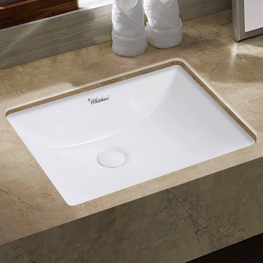 "Isabella Plus Collection 21"" Rectangular Undermount Basin with Overflow and Rear Center Drain"