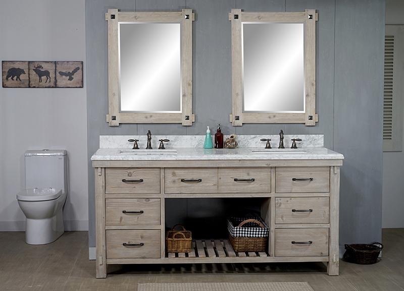 "72"" Rustic Solid Fir Double Sink Vanity with Rectangular Sink and Carrara White Marble Top Beveled Edge - No Faucet"