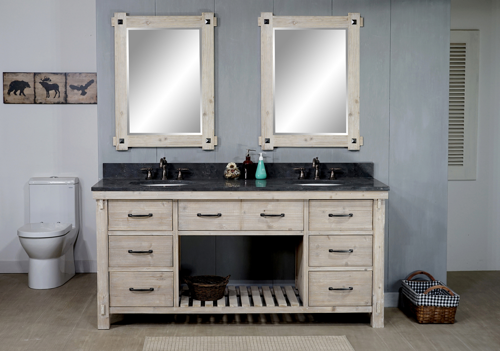 "72"" Rustic Solid Fir Double Sink Vanity with Limestone Top - No Faucet"