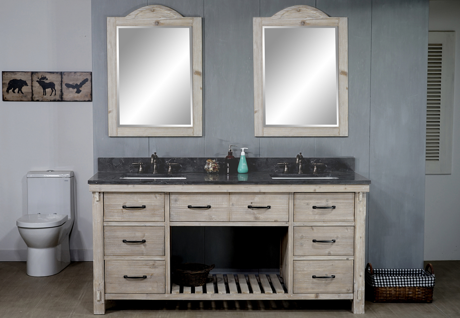 "72"" Rustic Solid Fir Double Sink Vanity with Rectangular Sink Limestone Top - No Faucet"