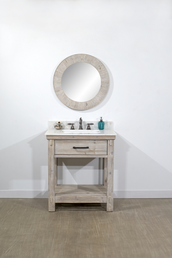"30"" Rustic Solid Fir Single Sink Vanity with Arctic Pearl Quartz Marble Top Options - No Faucet"