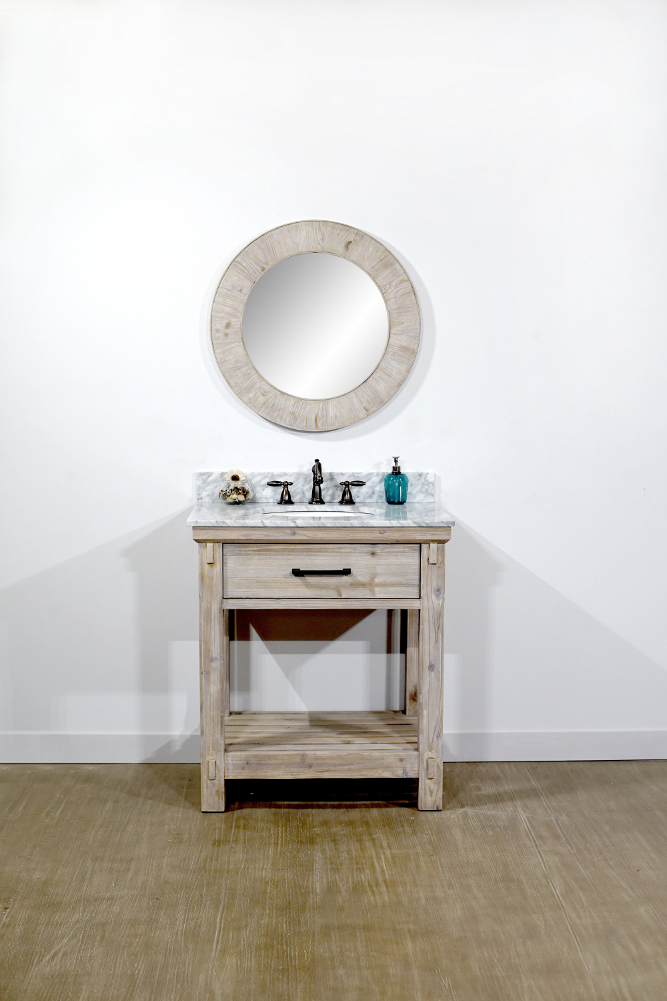 "30"" Rustic Solid Fir Single Sink Vanity with Carrara White Marble Top Options - No Faucet"