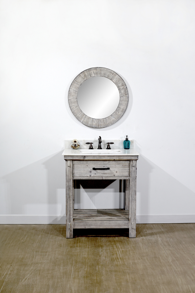 "30"" Rustic Solid Fir Single Sink Vanity with Grey Driftwood with Top Options - No Faucet"
