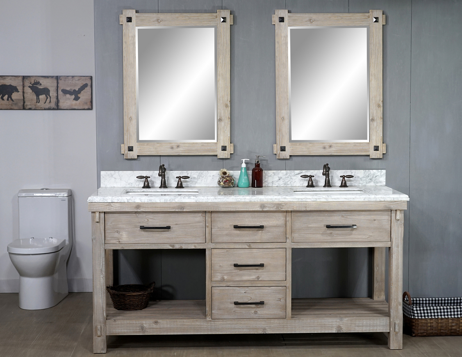 "72"" Rustic Solid Fir Double Sink Vanity with Carrara White Marble Top Beveled Edge and Rectangular Sink - No Faucet"