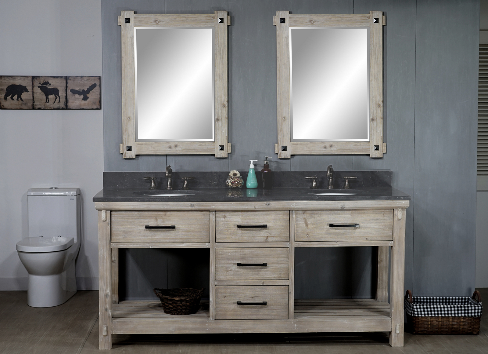 "72"" Rustic Solid Fir Double Sink Vanity with Limestone Top and Oval Sink - No Faucet"