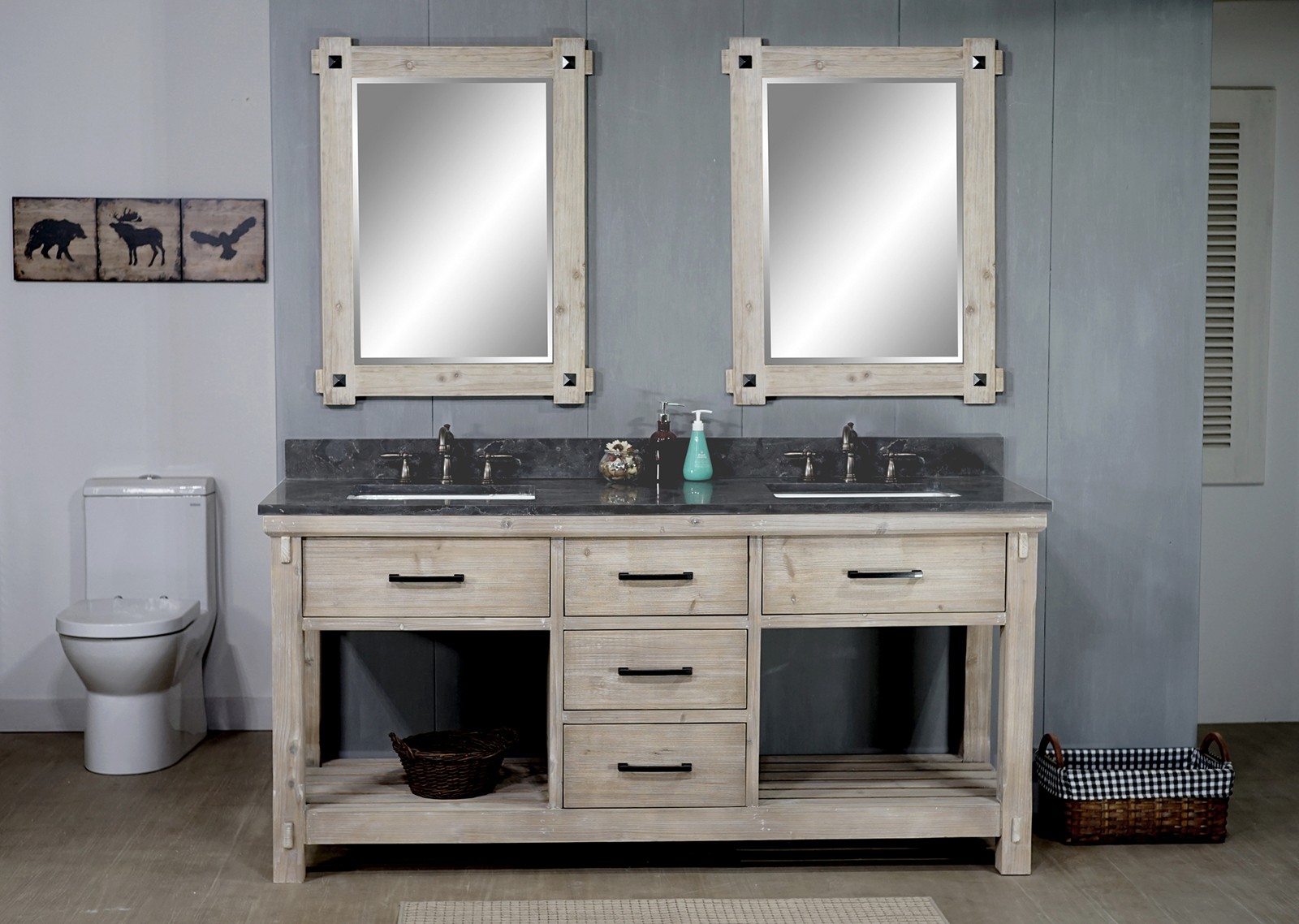 "72"" Rustic Solid Fir Double Sink Vanity with Limestone Top and Rectangular Sink - No Faucet"
