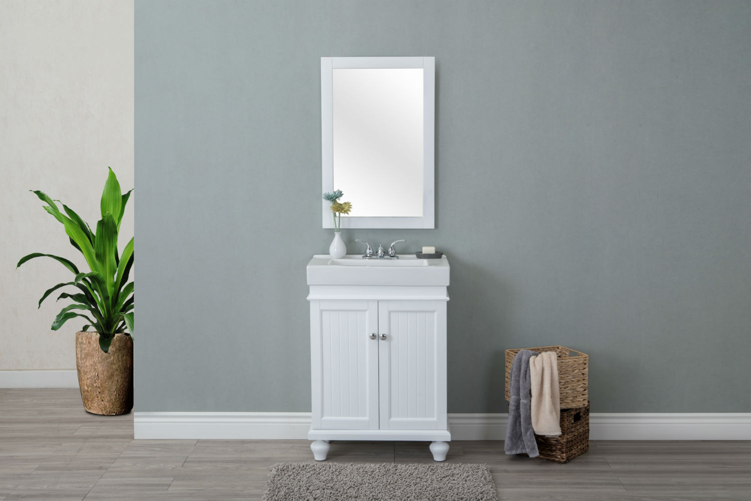 "24"" Matte White Bathroom Vanity & White Ceramic Top"