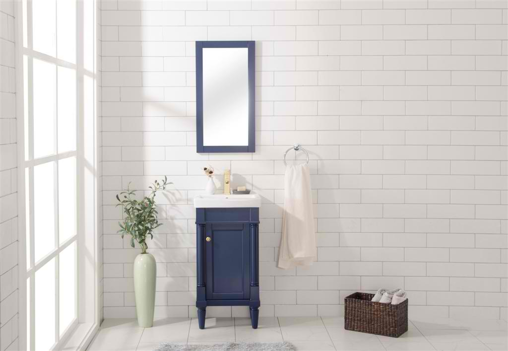 """17"""" Single Sink Bathroom Vanity in 3 Color Options with Ceramic Top and White Ceramic Sink Pre-drilled with One Hole"""