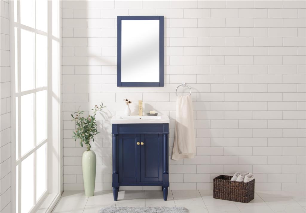 """24"""" Single Sink Bathroom Vanity in 3 Color Options with Ceramic Top and White Ceramic Sink Pre-drilled with One Hole"""