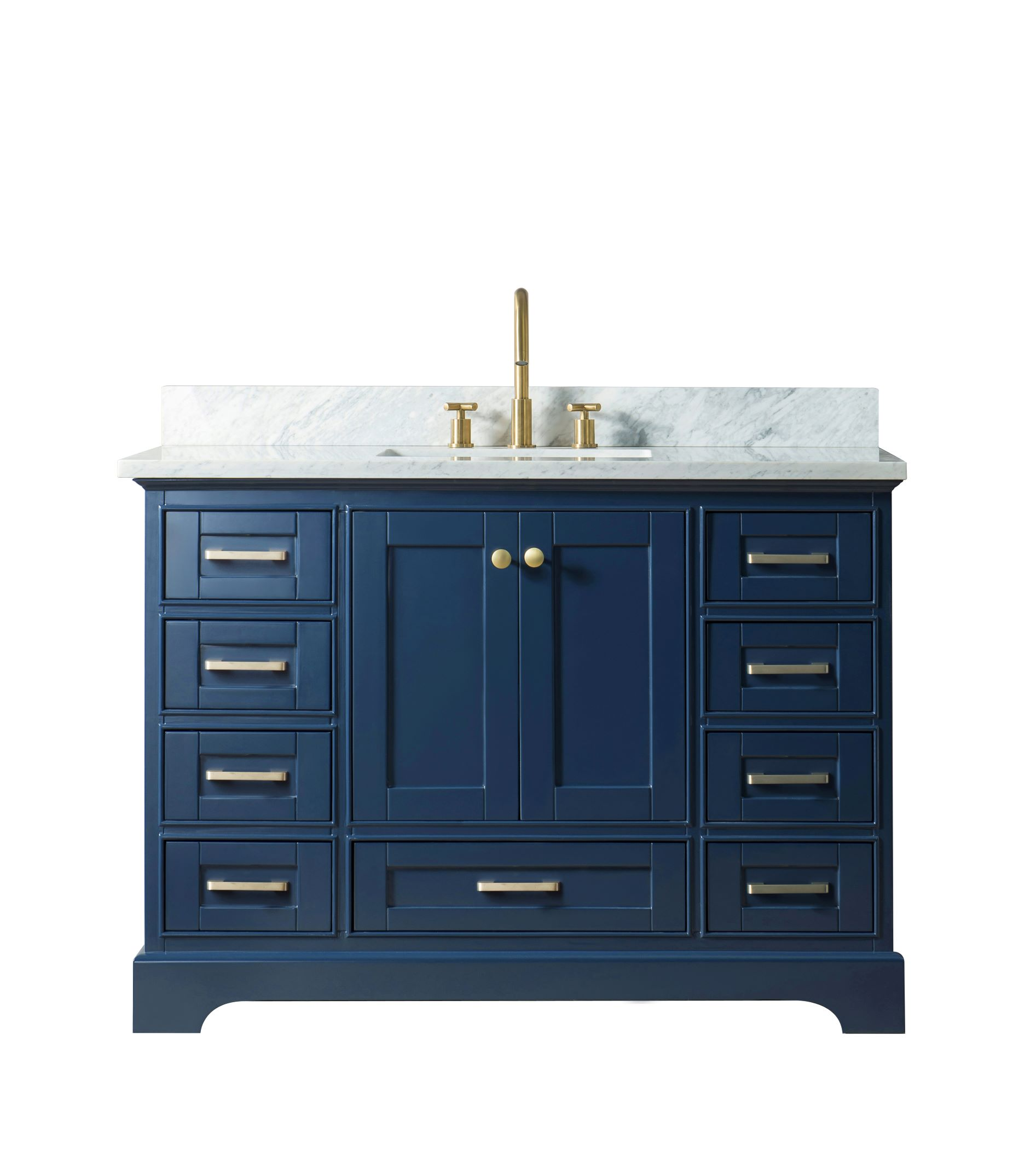 "48"" Single Sink Bathroom Vanity in Blue Finish with Carrara White Marble Top"