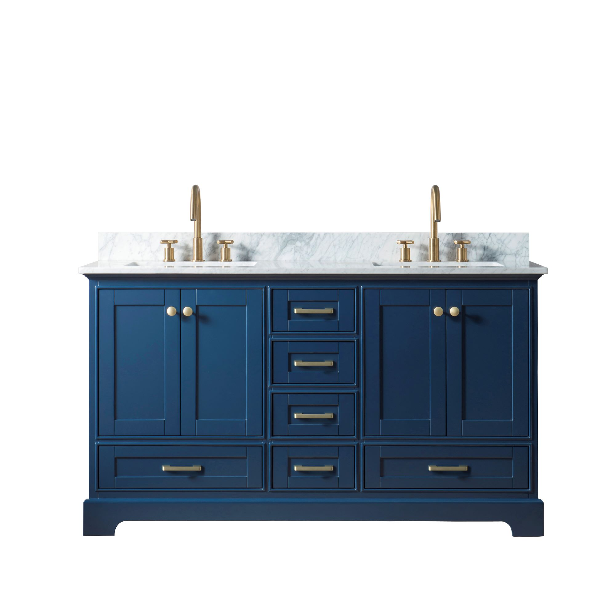 "60"" Double Sink Bathroom Vanity in Blue Finish with Carrara White Marble Top"